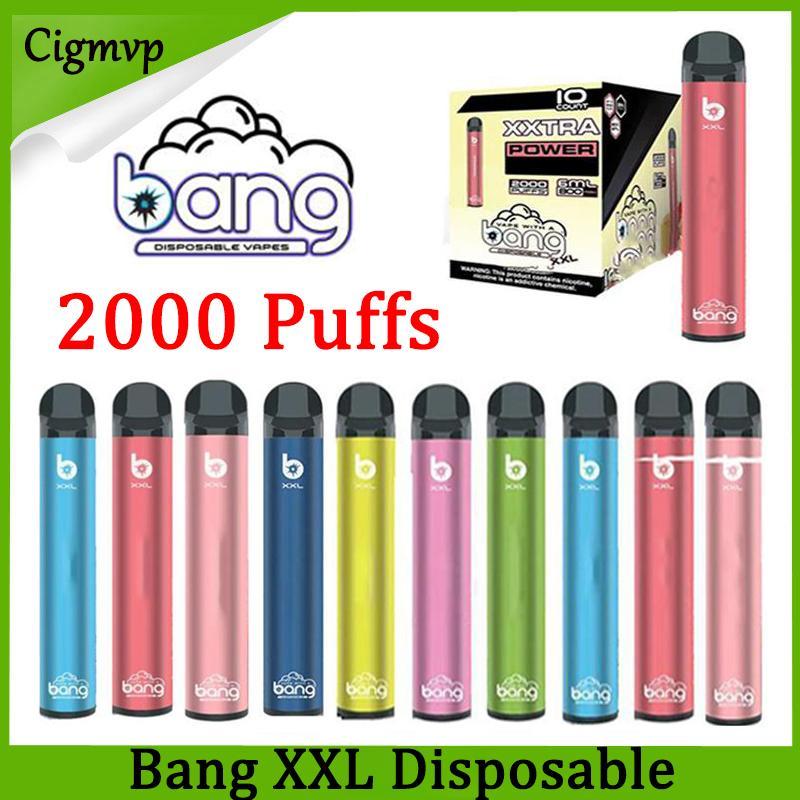 Bang XXL Disposable e cigarettes Vapes Pen Device 800mAh Batterys 16 Colors 6ml Pods Empty Vapors 2000+ Puffs Kit PK AIR BAR lux