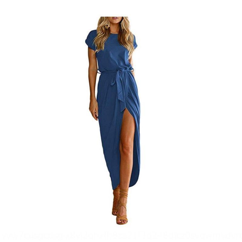 NzAEI 2019 Frauen Rundhals Pullover Pullover kurze unregelmäßige Spitze bWjV1 Kleid reizvoll Hülse schlitzte Kleid