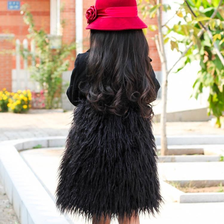 2020 Autumn New! Girl Long Style Woolen Coats Pachworked Faux Sheep Fur Winter Fur Jackets for Girls Wool Coats Slim Clothes