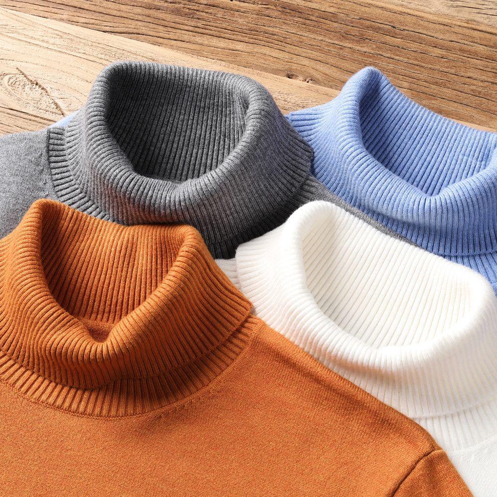Новая осень зима мужская теплая водолазка свитер высокое качество моды вскользь удобный пуловер толстый свитер мужской бренд 201120