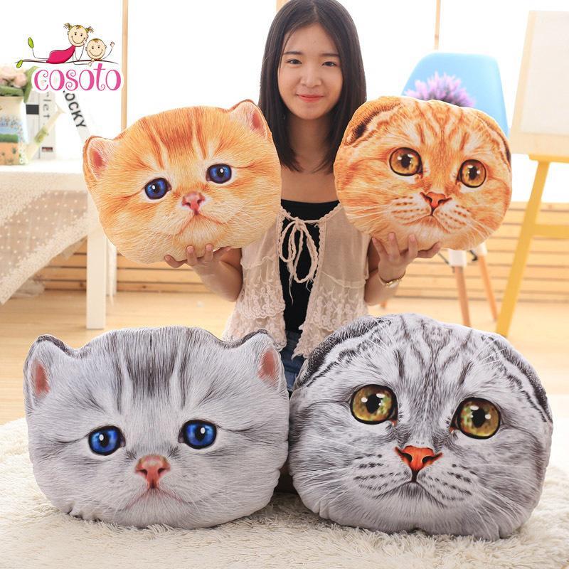 40 cm50 cm Kedi Yastık Araba Yastık Yaratıcı Dolması Sevimli Kedi Şekli Nap Yastık Sevimli Koltuk Yastık Peluş Oyuncaklar Hayvan Yastık Y200723
