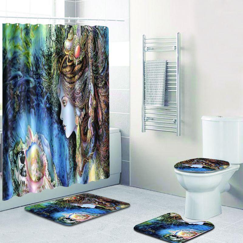 2020 Nuovo 180x180cm 4 pezzi impermeabile con doccia tenda set bagno sedile water cuscino decorazione domestica con 12psc tenda ganci 1