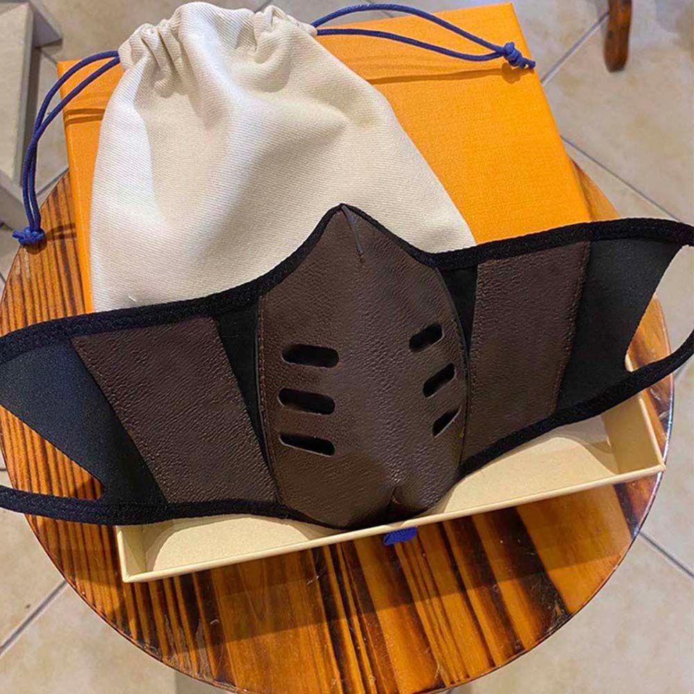 2021 мода дизайнерская вечеринка маски мужчин женщин пыли многоразовая моющаяся кожаная маска наружные хлопчатобумажные тканевые клетки маска для лица с коробкой и мешком