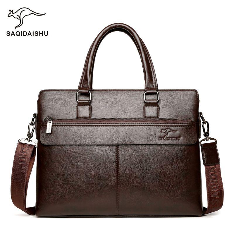 """office bags for men documents sac homme pour des Men's Briefcase 14"""" Laptop Man fashion Business Handbags Leather brown Q0112"""