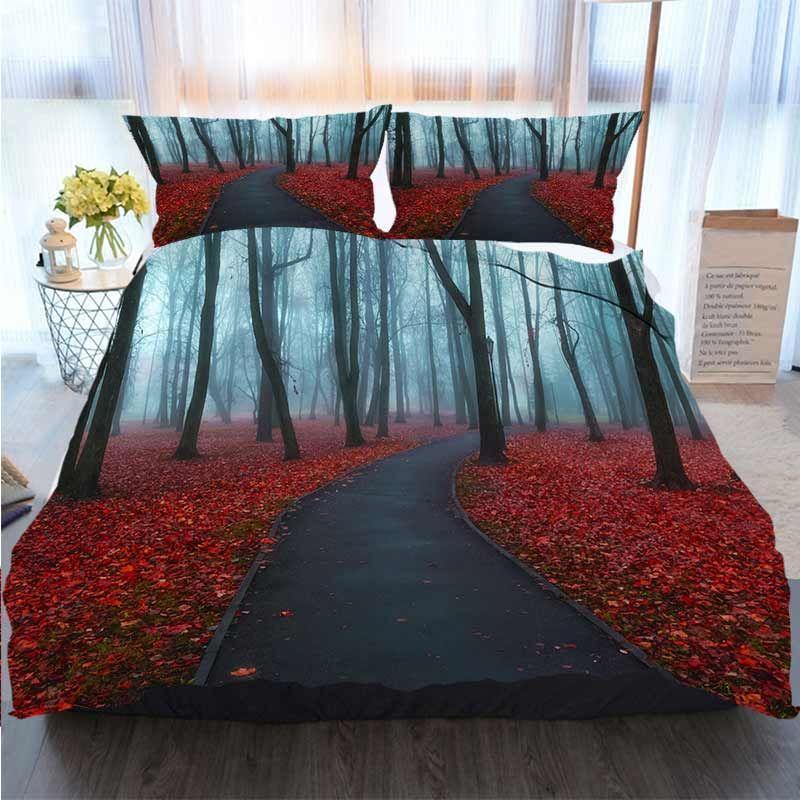 3D Tasarımcı Yatak Takımları Sonbahar Sisli Alley Renkli Sonbahar Manzara Görüntüle Yorgan Yatak Yorgan Yatak Takımları