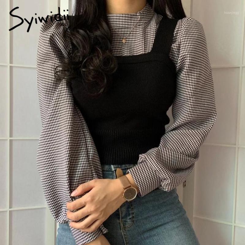 Сиивидия 2 шт. Трикотажная рубашка и блузка Женщины Корейская мода Одежда винтажные повседневные топы Офис Lady Spliced The TurtleNeck1