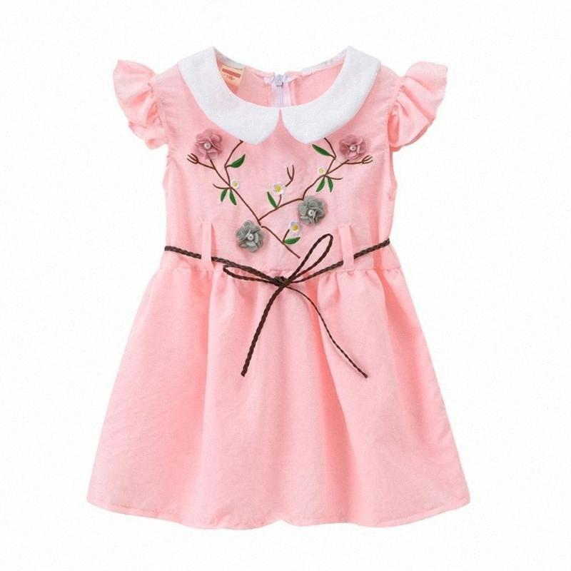 Été layette fille Robe manches courtes épaule broderie enfant en bas âge Enfants Girl Dress NIOT #