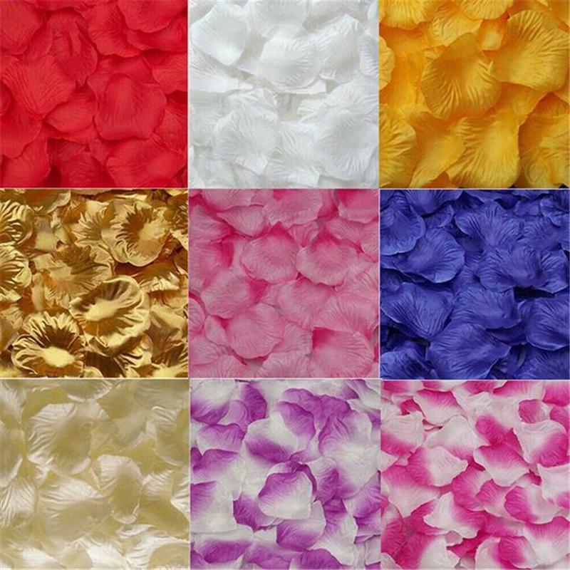 Preciosa novia de seda pétalos de rosa nupcial Flowergirl cesta falsificación flor 1000pcs fiesta de la boda pétalos de la flor de la tabla del confeti Decoraciones