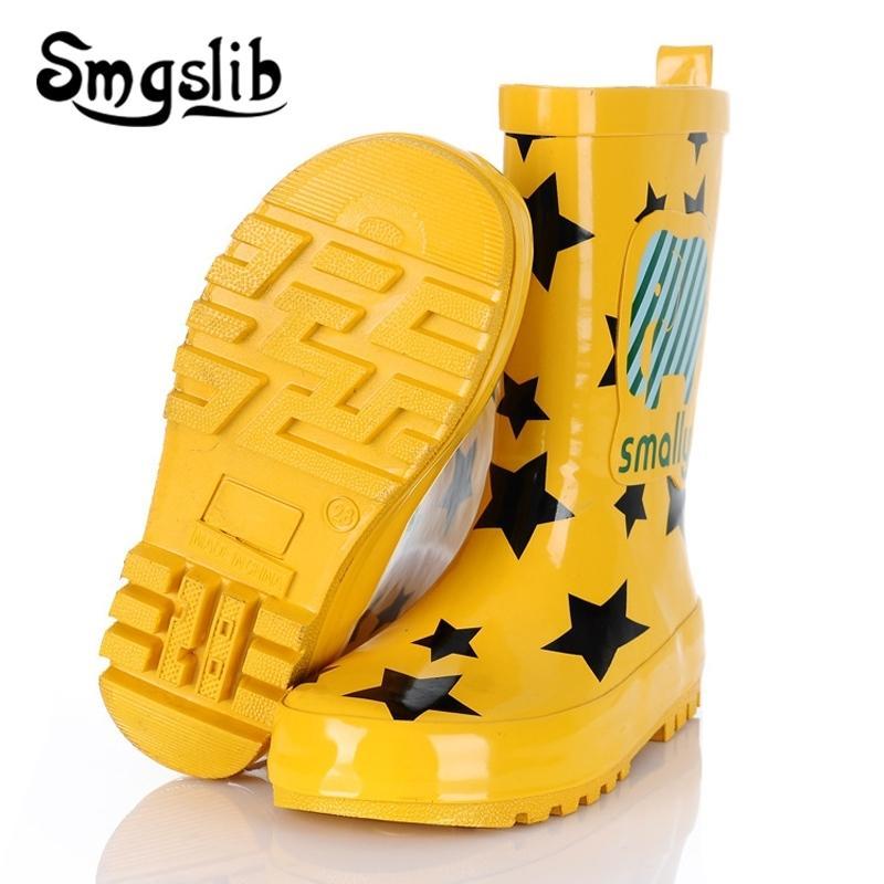 Çocuk Yağmur Botları Erkek Kız Jöle Ayakkabı Çizmeler Moda Çocuklar Kauçuk Rainboots Renkli Boot Karikatür Baskı Toddler 201112