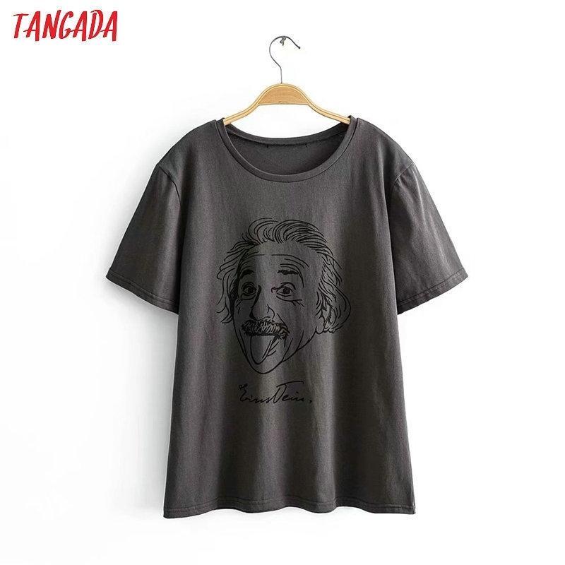 Tangada Kadın Büyük Boy Karakter Baskı Gri Pamuk T Gömlek Kısa Kollu Yaz Tees Bayanlar Rahat Top 2R05 T200512