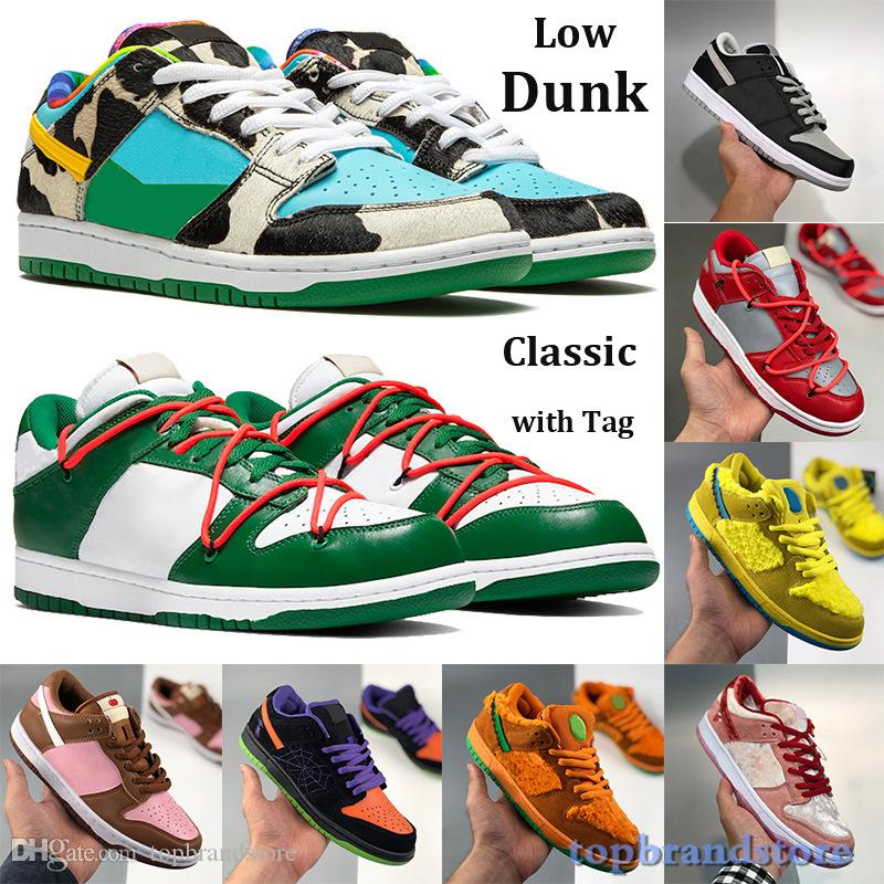 Tag Low Dunk Classic Casual Shoes Men Women chunky dunky shadow Yellow Bear Trainers Travis scotts University Red Pine Green white Sneakers