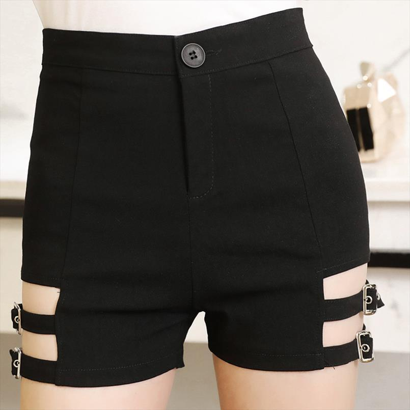Sexy Femmes Vintage Noir Elastic Taille High Taille Chaud Shorts Skinny Skinny Courreuse Court Punk Shorts Drop Expédition