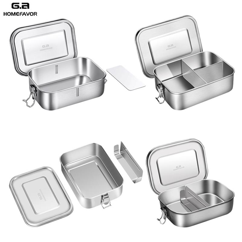 Top Grau 304 Aço Inoxidável Lancheira Grande Metal Bento Box Lanche Recipiente De Alimentos Ao Ar Livre Caixa De Armazenamento Novo Custom 201210