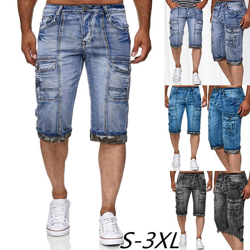 Длина колена джинсы мужские прямые сплошной среды 2020 летние новые моды джинсовые шорты с несколькими карманами