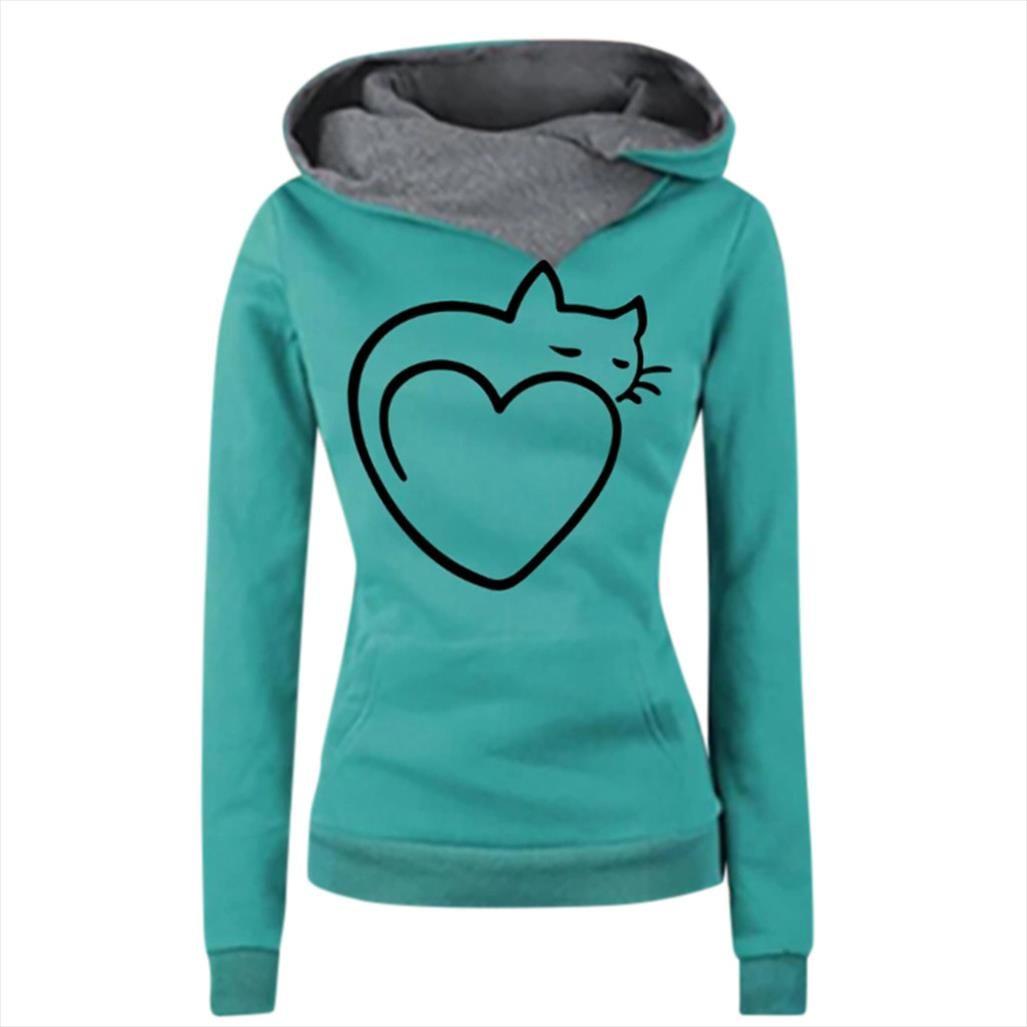 Damen Katze Liebesdruck Hoodie Top-Sweatshirt Winter und Herbst 2020 Multicolor Marke Female Langarm warmen
