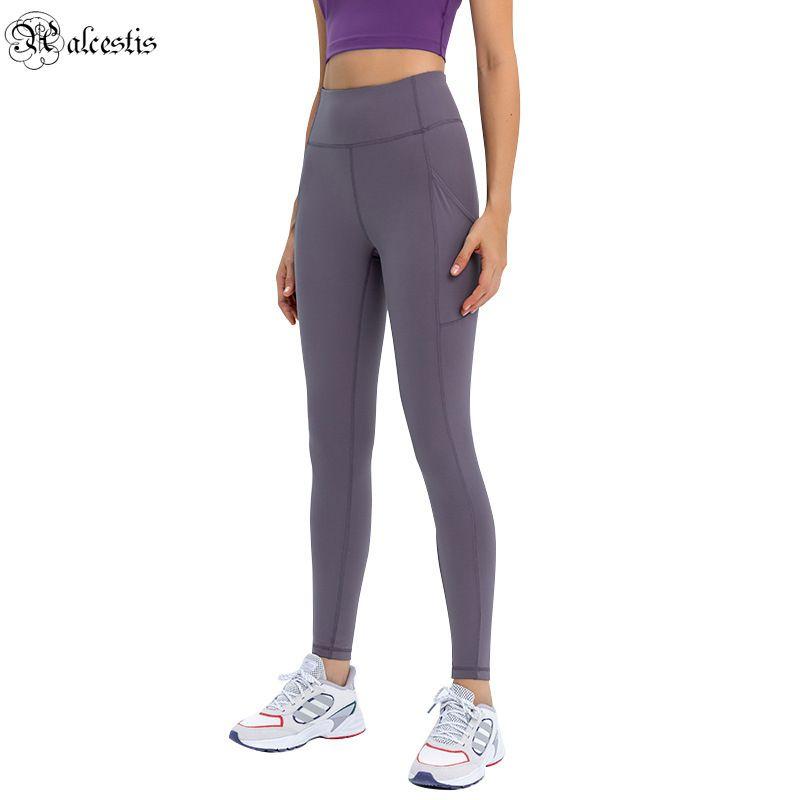 2021 Novos Leggings Apertados Bolsos Side Bolsos Nude ioga Calças MulheresHigh-cintura Esticão Slim Sports Calças Colhidas