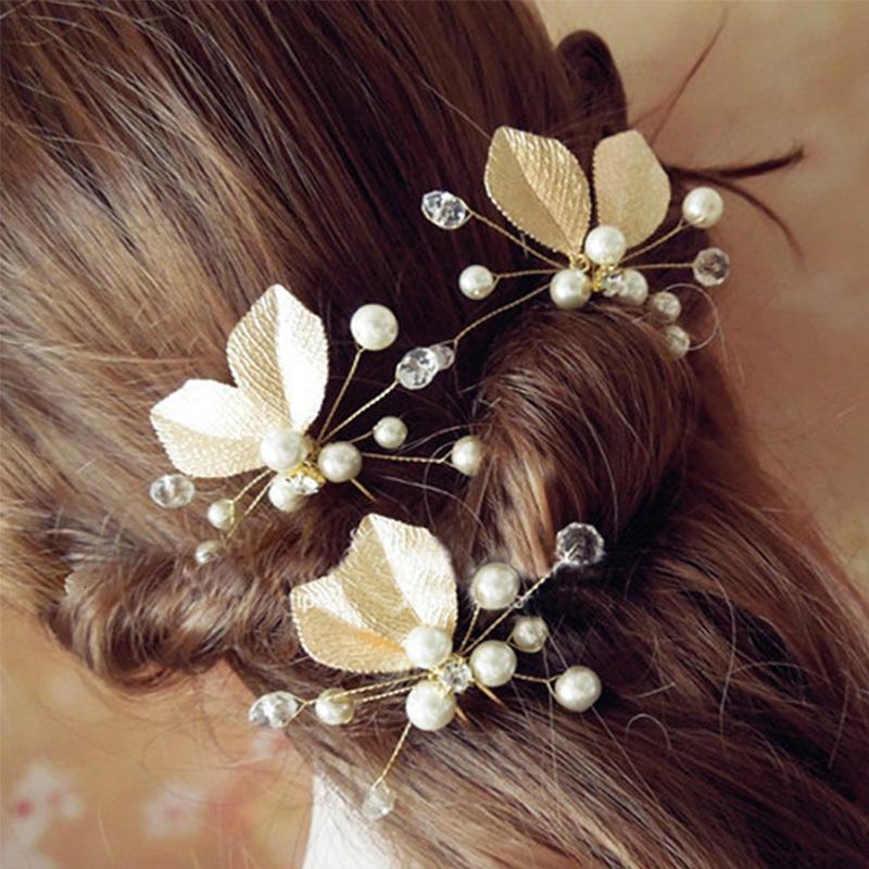 Gioielli Clip 6pcs perla di cristallo capo Pezzi Fiore Foglia forcine Le amiche della sposa Spose capelli Pins nozze Accessori sposa