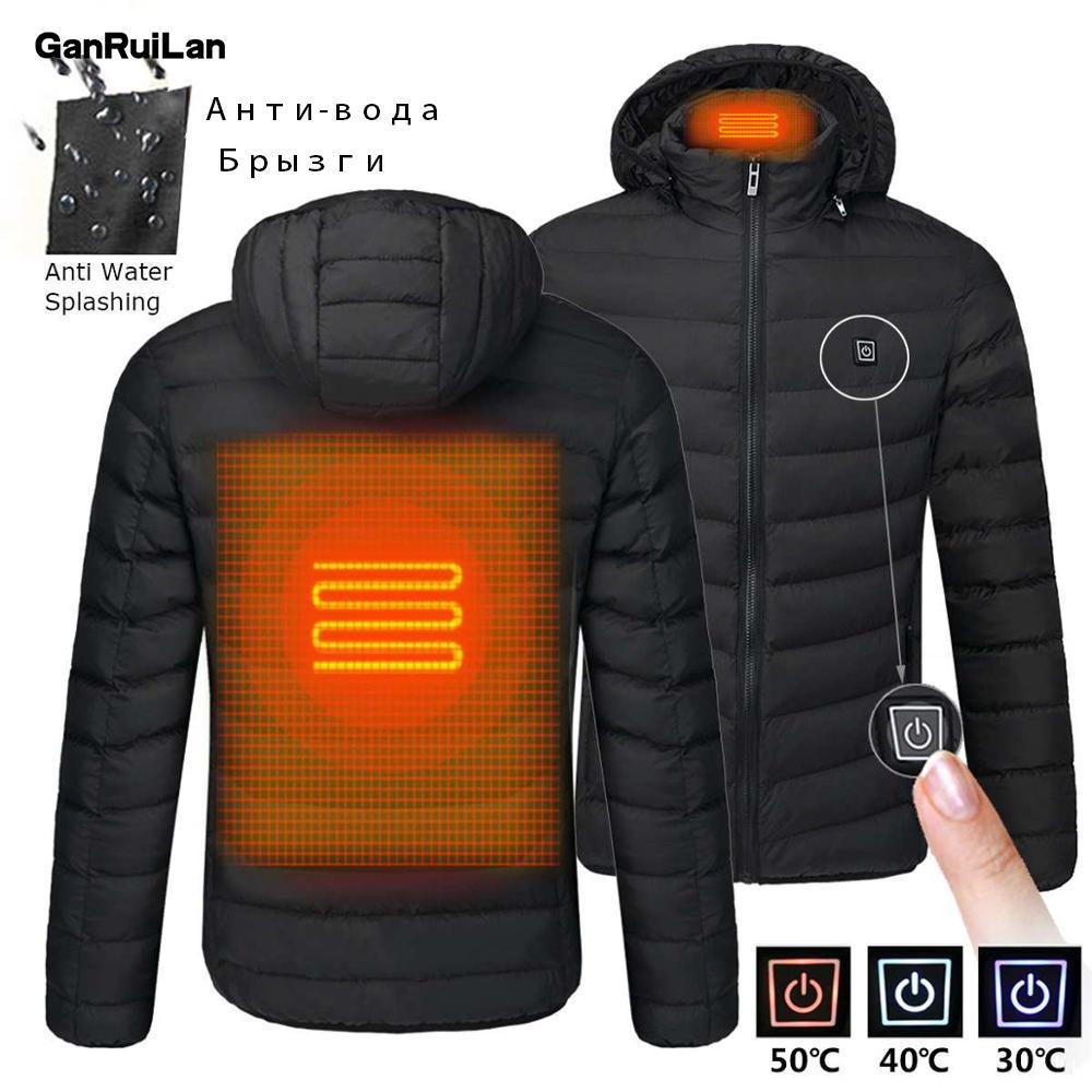Calefacción chaquetas termostato inteligente del color puro con capucha se calienta la ropa 2020 más nuevo invierno de los hombres caliente USB caliente impermeable chaquetas Q1110