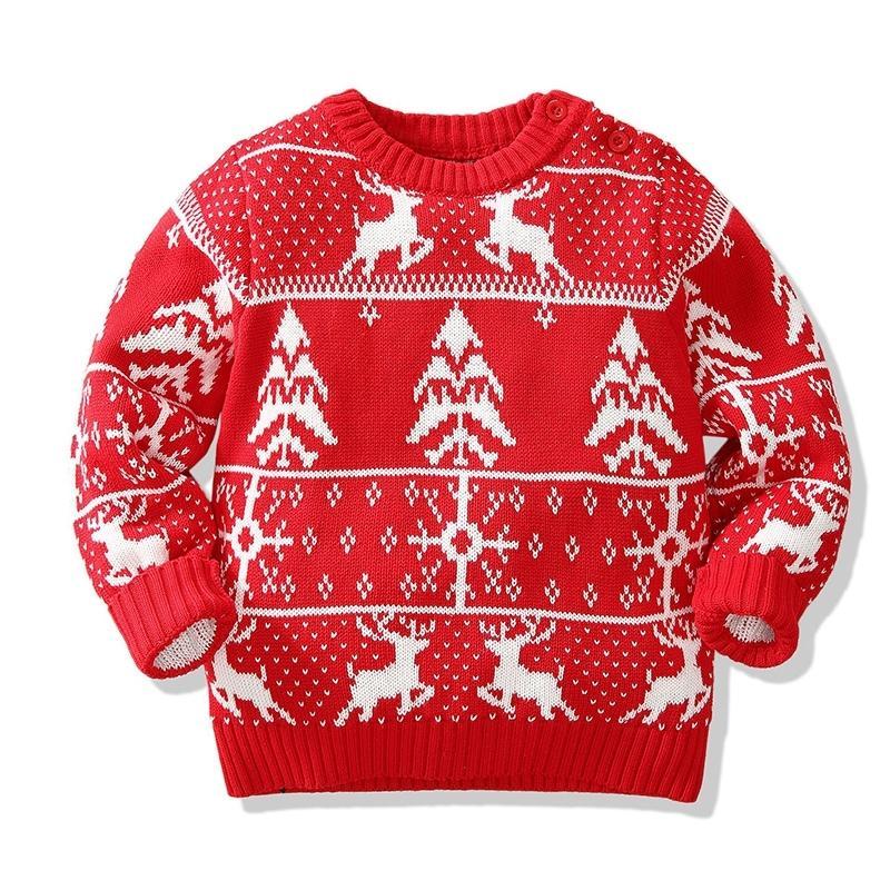Рождественские мальчики девушки свитера зима малыша детская одежда с оленями дети рождественские свитер вышивка вытягивающие шипения 201103