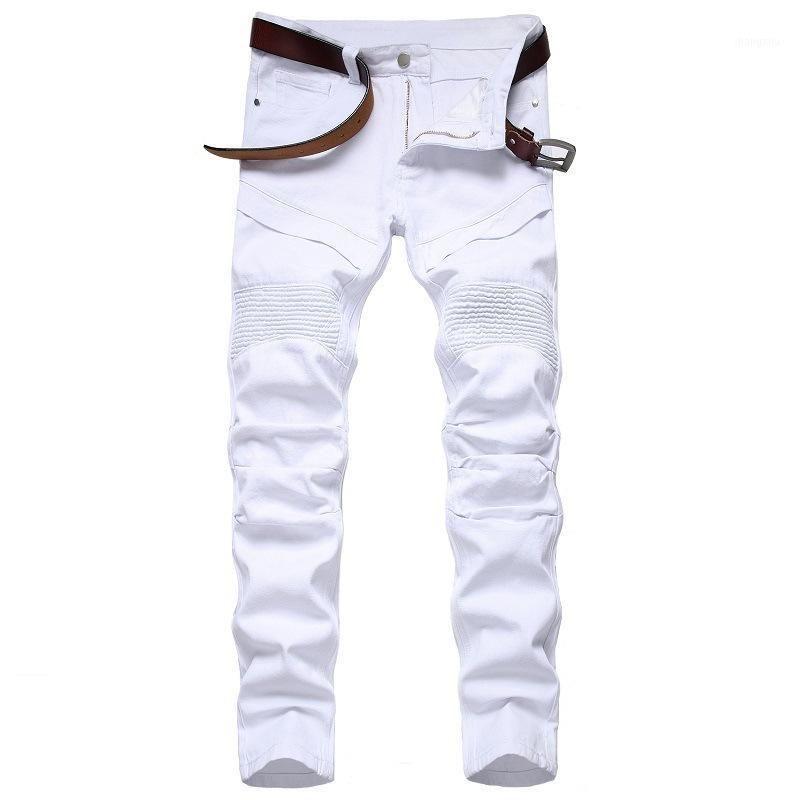 Original Straight Slim Hole Denim Pants Pleated Motorcycle Jeans Men Solid Jeans Fashion Patchwork Designer Brand White Jean1