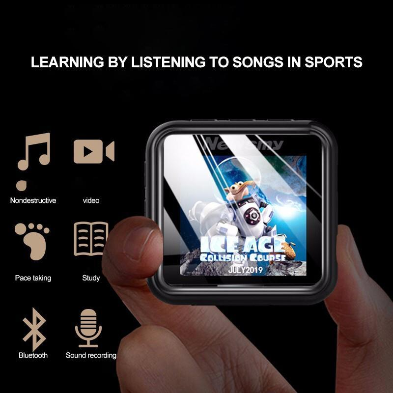 1.5 inch Bluetooth MP3 Mini Cute Walkman Music Player Sports Running Portable MP3 with Back Clip Flac Player Pedometer