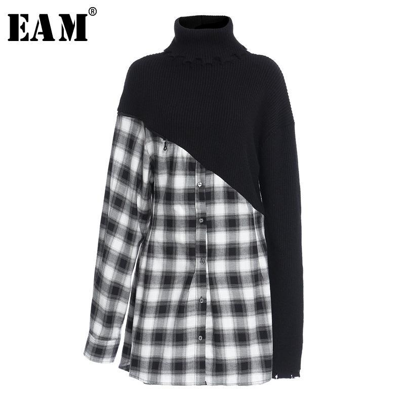 [EAM] Femmes Noir Plaid Robe à tricoter irrégulier Nouveau Turtleneck Manches longues à manches longues Fit Fit Fashion Tide Spring Automne 1Z175 201127