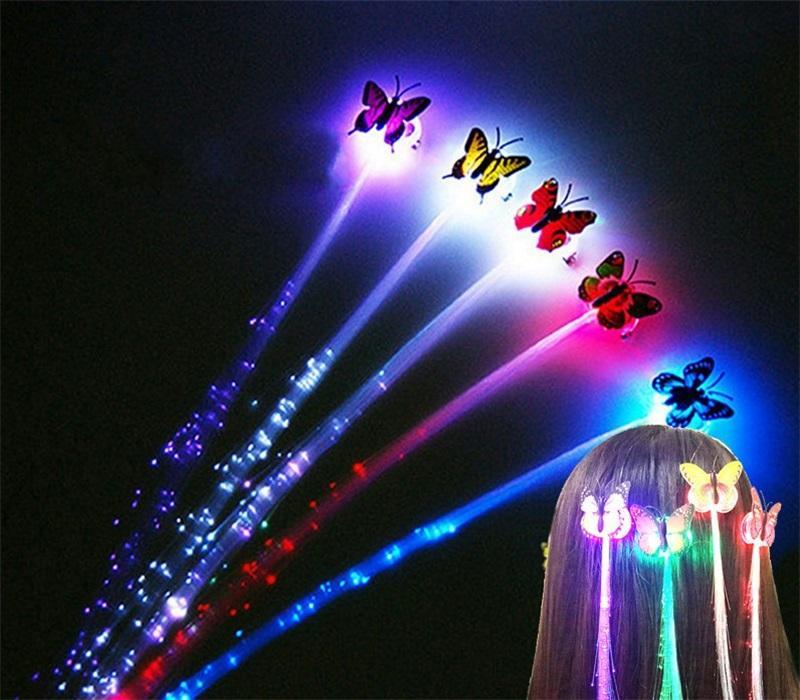 35cm borboleta luminescence rabo de cavalo menina festa de fibra óptica noctilucente cabelo colorido crianças led brilho novo 0 75JF O2