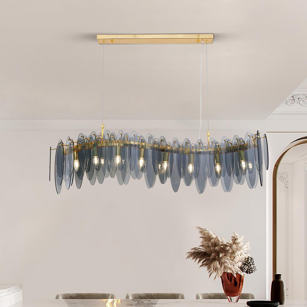 Illuminazione del lampadario di vetro di progettazione dell'onda per la sala da pranzo Decorazione moderna della decorazione della casa Hanglamp Cucina di lusso Isola dell'isola dell'illuminazione