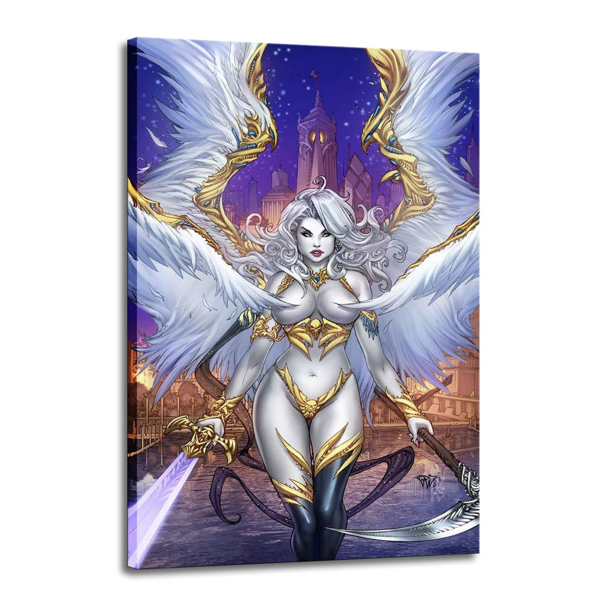 Art Lady Death Oil Painting Print On Canvas Modern Wall Art Modular Wall Pictures For Living Room Deco 2507
