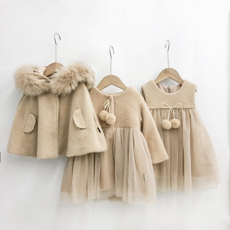 Inverno Criança Roupa Girl Set Yet Fio Splicing Vest Vestido Digita Casaco Capuz Cloak 3pcs Set para Menina Moda Fashion Pricess Terno 201277