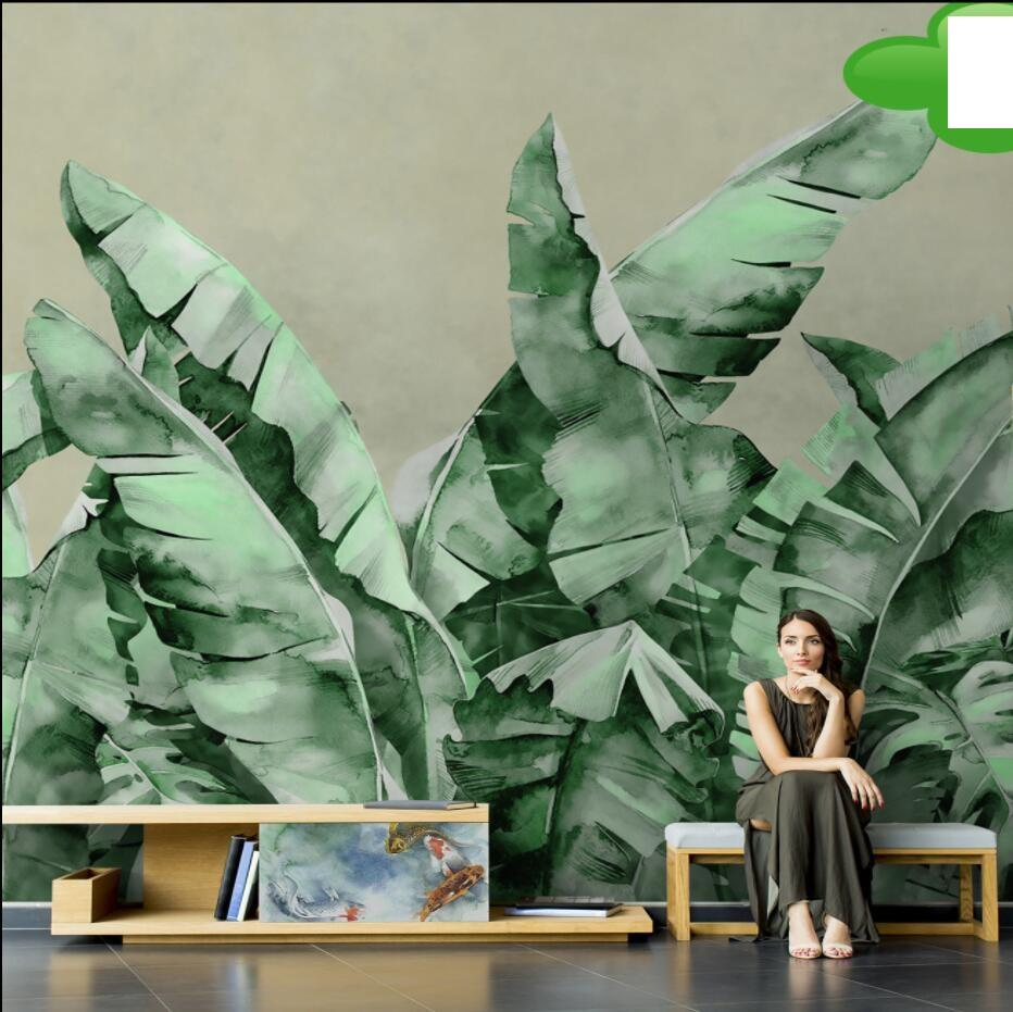Hand painted simple banana leaf wallpaper modern plant mural living room TV background B & B dining room wallpaper