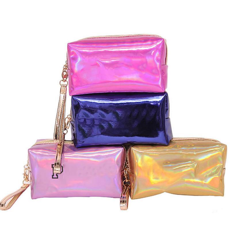 Mulheres moda bolsa cosmética rosa laser maquiagem zipper compõem bolsa organizador organizador caixa de armazenamento malotas toalete lavar beleza caixa
