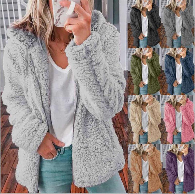 Womens Woolen Fleece Jacket Fashion New Style Hooded Autumn Winter LwomenTops Hot Sale Solid Color Women's Clothing Multiple Styles