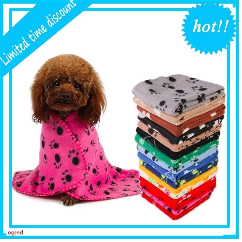 60 * 70cm Pet Petite Paw Toilett Cat Trotel Cat Fleece Soft Chariot Soft Couvertures Lits Coussin Coussin Couverture Couverture de chien 22 Couleurs DBC BH3013