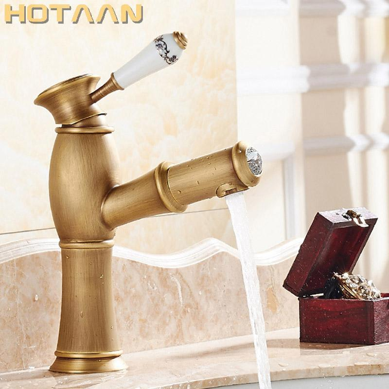 Hot selling,Free shippingPull Out Basin Faucet Antique Brass Copper Basin Mixer Tap Kitchen Faucet Deck Mounted YT-5002