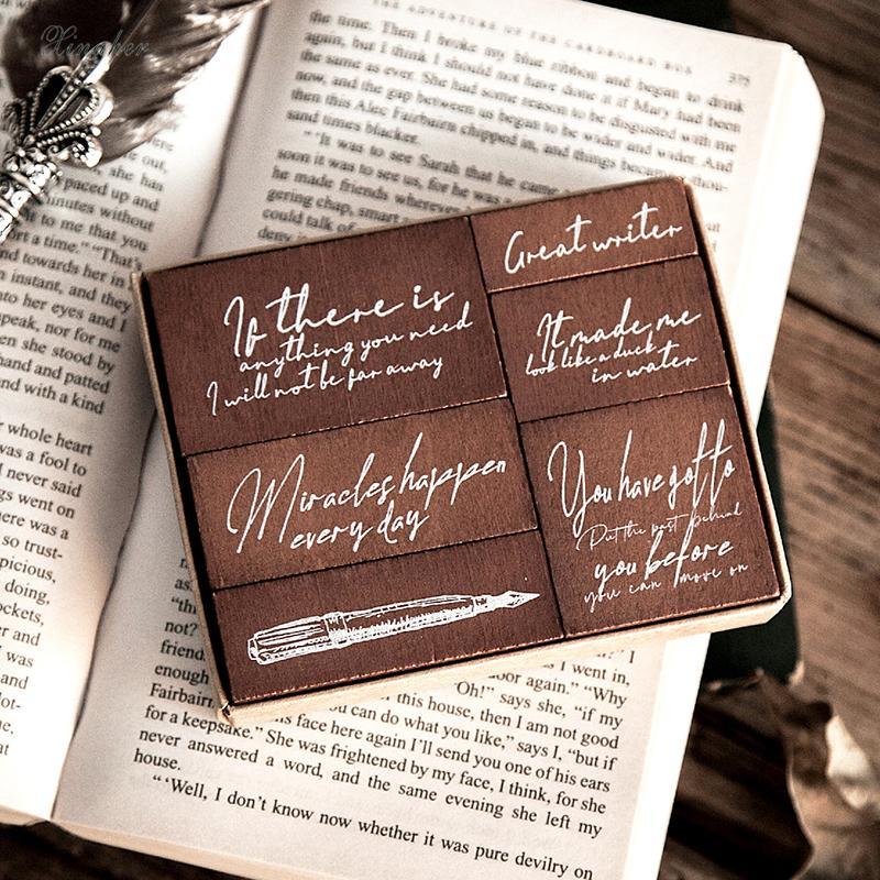 6pcs / set Vintage Pen Inglês poesia selo carimbos de borracha de madeira DIY para scrapbooking papéis scrapbooking Q1114 selo padrão