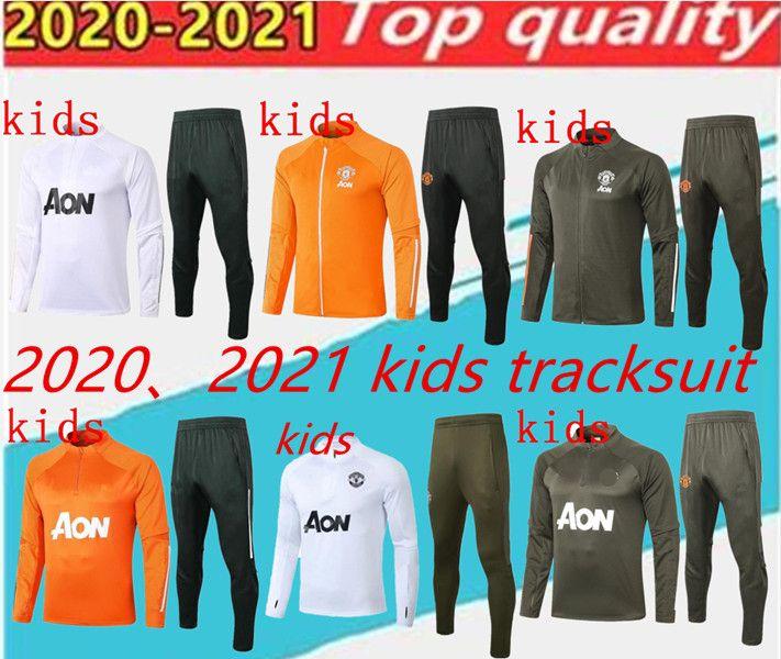 2020 2021 Çocuklar Manchester Eğitim Takım Elbise Erkek Chandal Rashford Futbol Ceket Spor Ayak Jogging Çocuklar Birleşik Futbol Eşofman