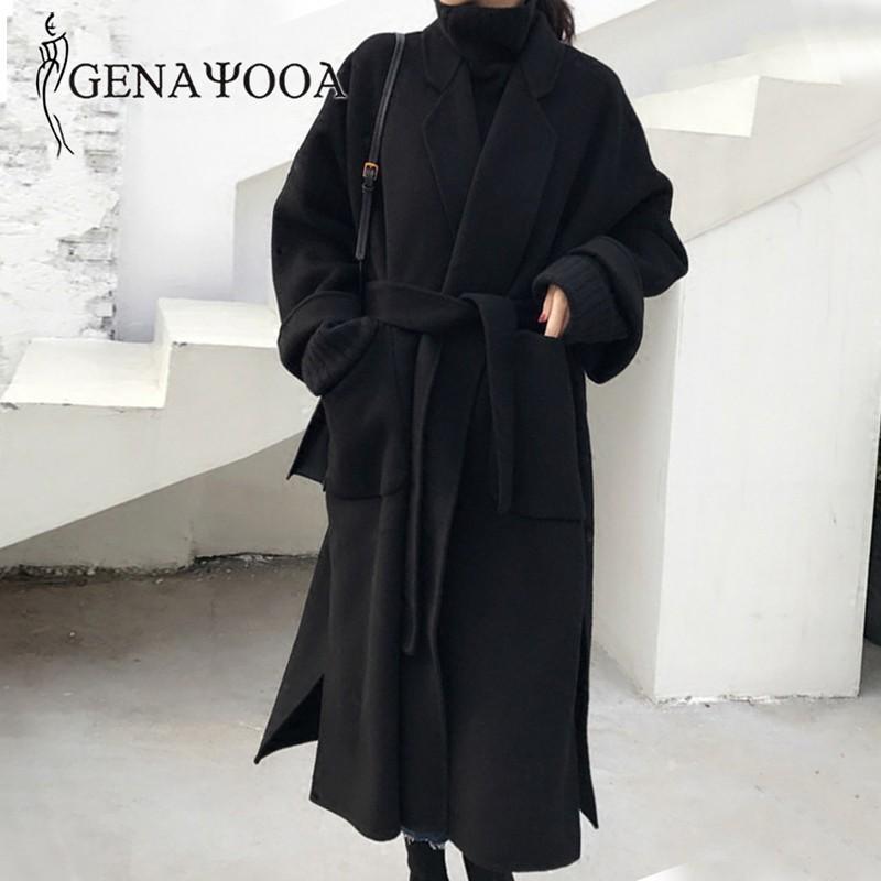 Genayooa Kış Zarif Yün Karışımı Kadın Kore Tarzı Siyah Uzun Mont Vintage Minimalist Yün Palto Deve Büyük Boy 201103