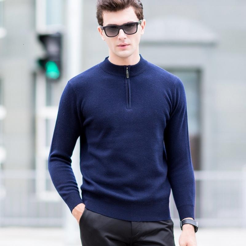 Les nouveaux hommes 100% pure laine mi-hauteur Fermeture à glissière épaissie col Pull Automne Hiver Casual Computer Tricoté Sweatercoat Taille S-2XL