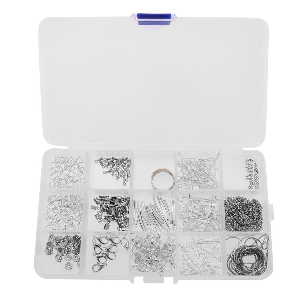 1 Set Jewelry Finding Starter Kit Lobster Clasp Open Ring DIY Craft With Box