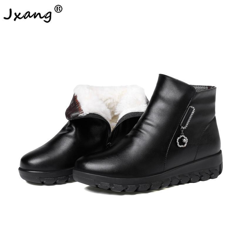 JXANG Нового высокого качества снег сапоги шерсть женщины теплые ботинки плюш лодыжка мода ботинки платформа женщины зимняя обувь большого размера 35-43