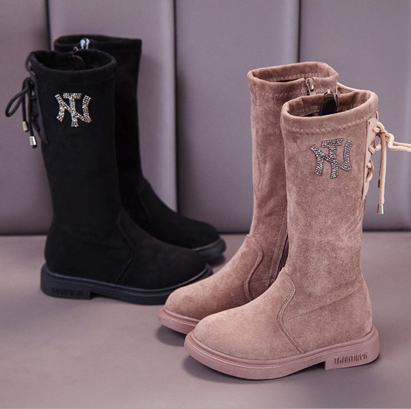 Hot-selling fashion and high-quality high-quality girls' high-tube boots, front zipper laces and decorative suede material design shoes