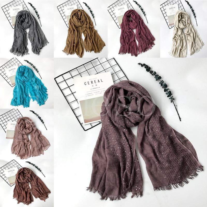 200*100CM Solid Mori Girl Women Scarf 9 Color Autumn Winter Pashmina With Paillette Fashion Shawl Warm Wraps DB362