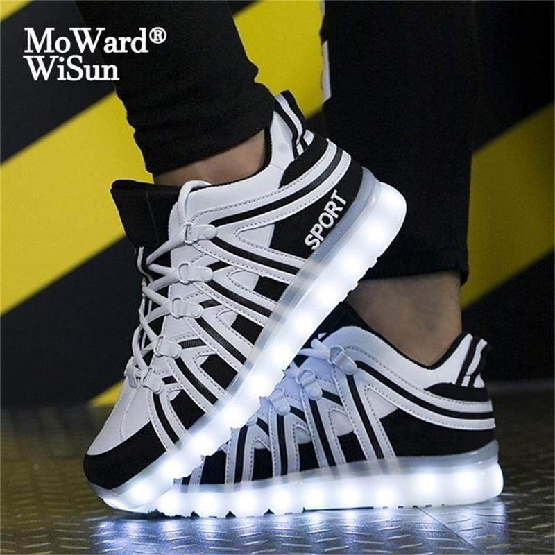 Size 35-46 Lighted led shoes Children Boys Girls Large Glowing Luminous Sneakers With Lights Couple for Adult 201224