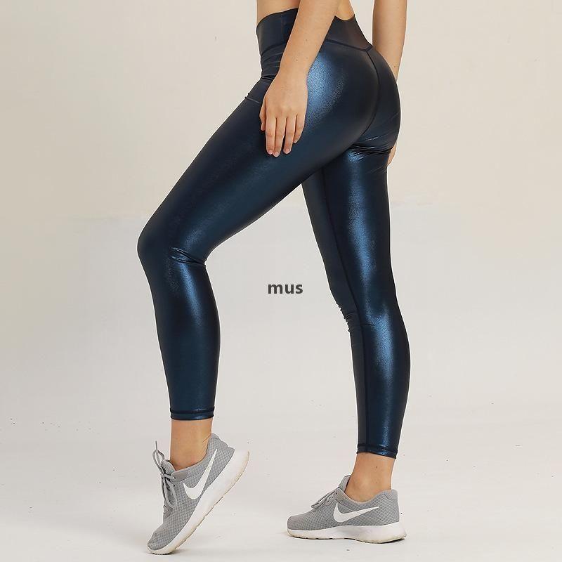 Femmes Cuir Pantalon de Yoga Push Up Formation Fitness Leggings Automne Winter Molleton Inside Tummy Control Format Collants Fallindoll K