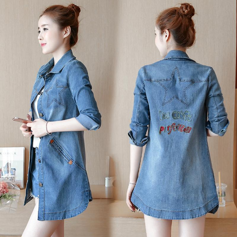 Automne nouveau manteau de denim sauvage Mode Femme mince boutons à bout unique Denim manteaux broderie de style occidental de style z292