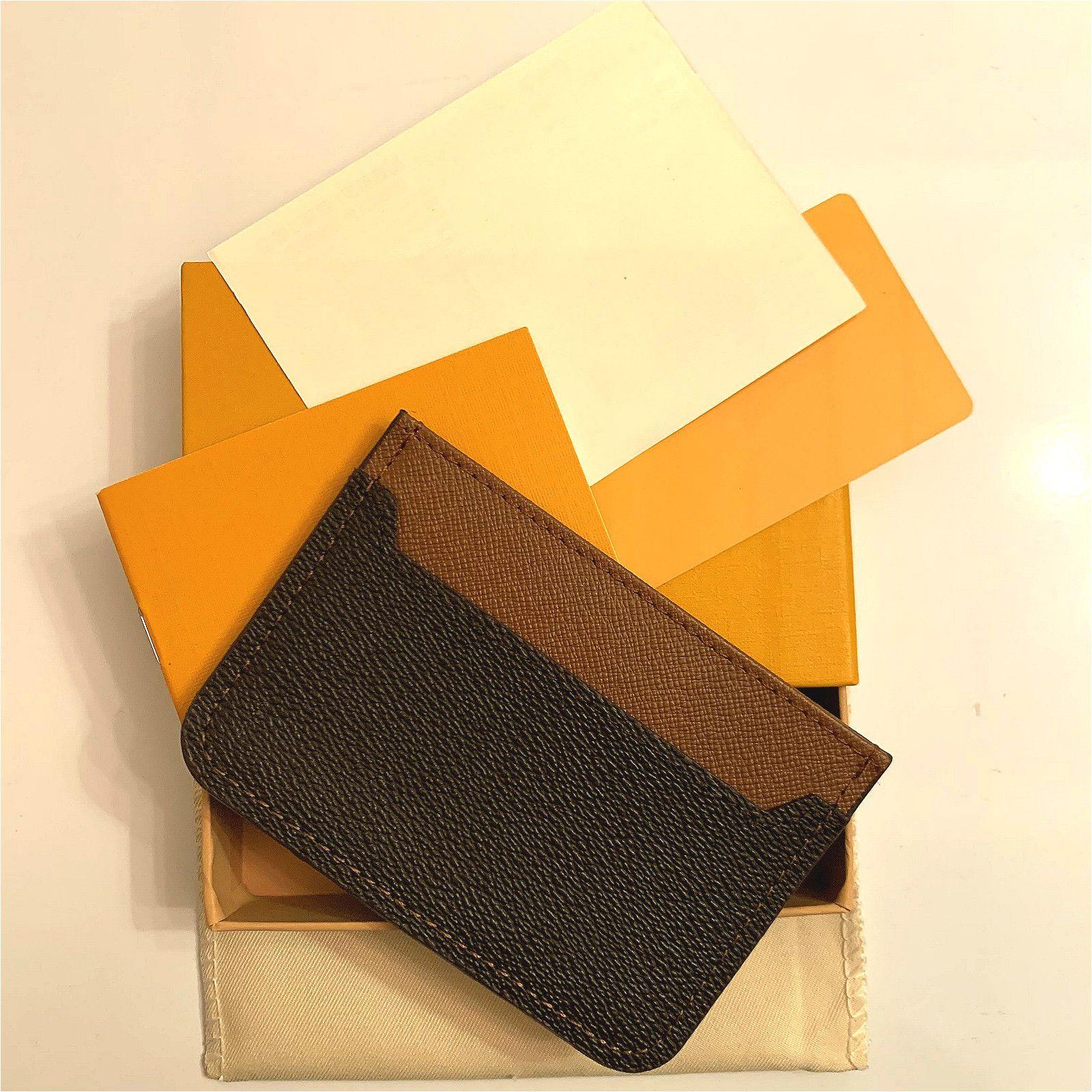 2020 New Mens Fashion Classic Design Casual Credit Card Holder Hiqh Quality Real Leather Pelle Ultra Slim Portafanico Borsa da portafoglio per Mans / Womans