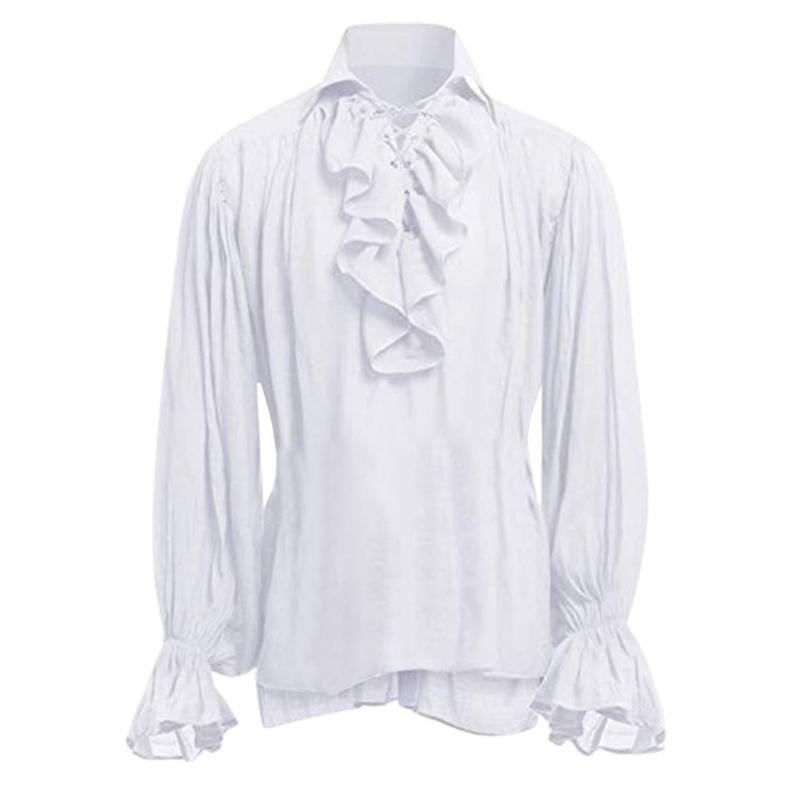 Camisas casuales para hombres 2021 Moda de alta calidad Hombres Vendaje Camisa de manga larga Hombre Gótico Blusa Tops Otoño Mens Estilo