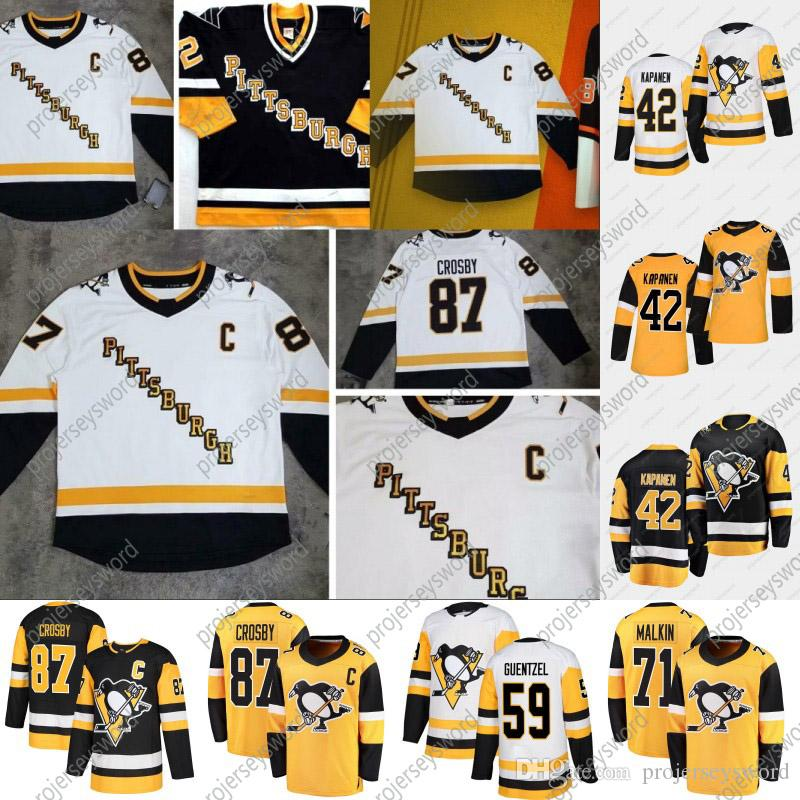 Pittsburgh Penguins Kasperi Kapanen 2020-21 Reverse Retro Jersey Sidney Crosby Jake Guentzel Evgeni Malkin Patric Hornqvist Casey Desmith