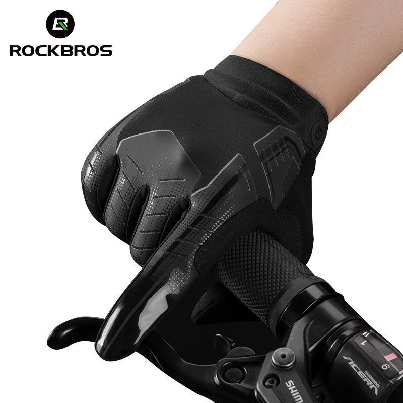 Rockbros ciclismo guantes de bicicleta pantalla táctil a prueba de viento guantes largos bicicletas cálido dedo lleno otoño invierno motocicleta guantes de bicicleta F1222